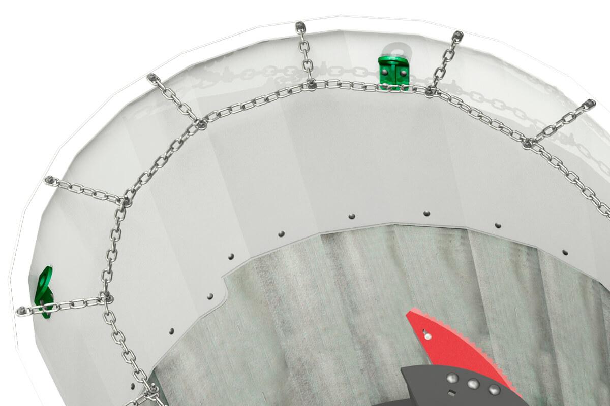 Sistema flexível anti-queda de feno Vertimix
